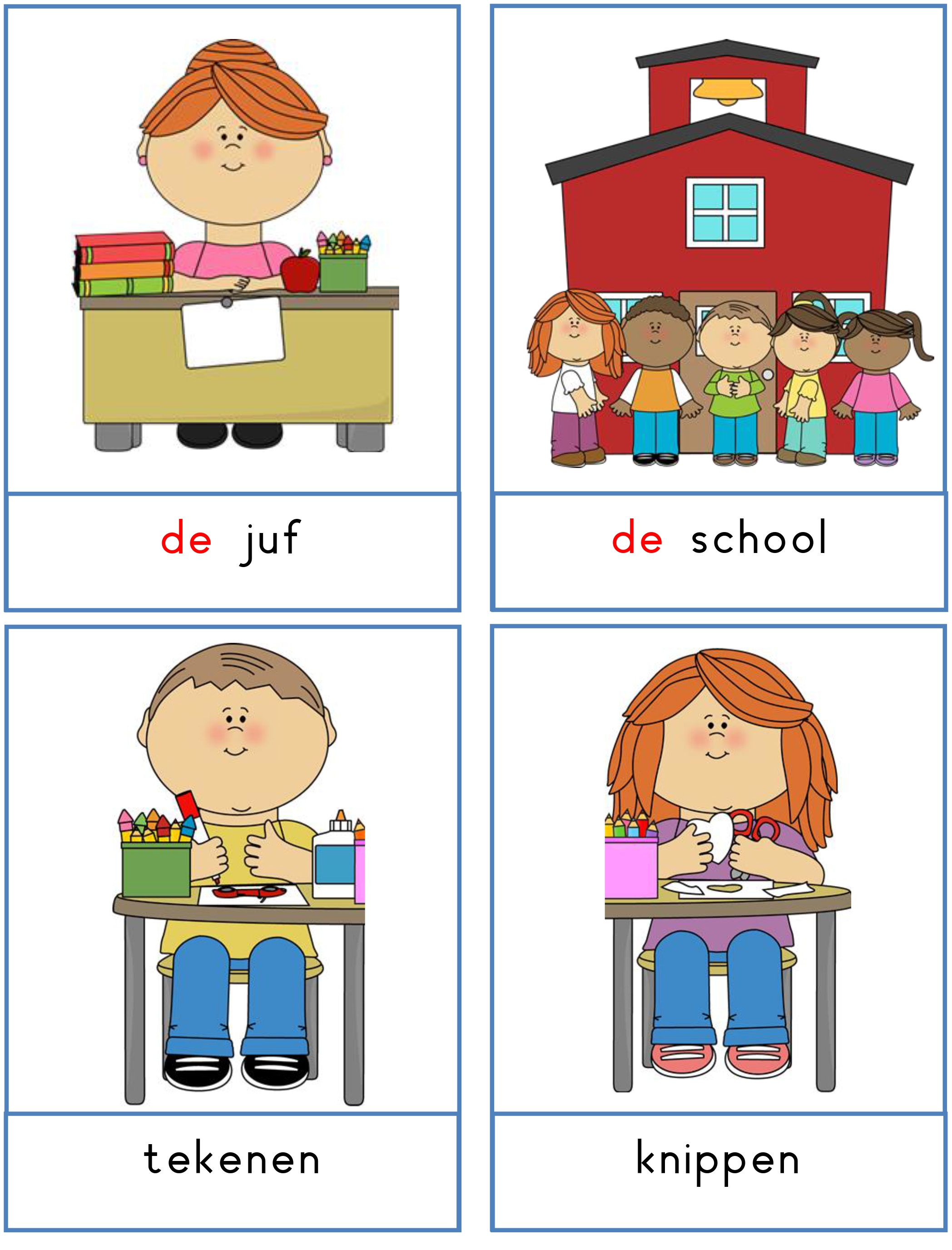 woordkaarten thema school