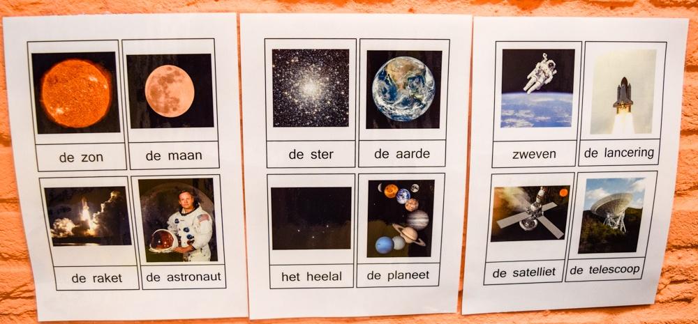 Woordkaarten 'Zon, maan en sterren'