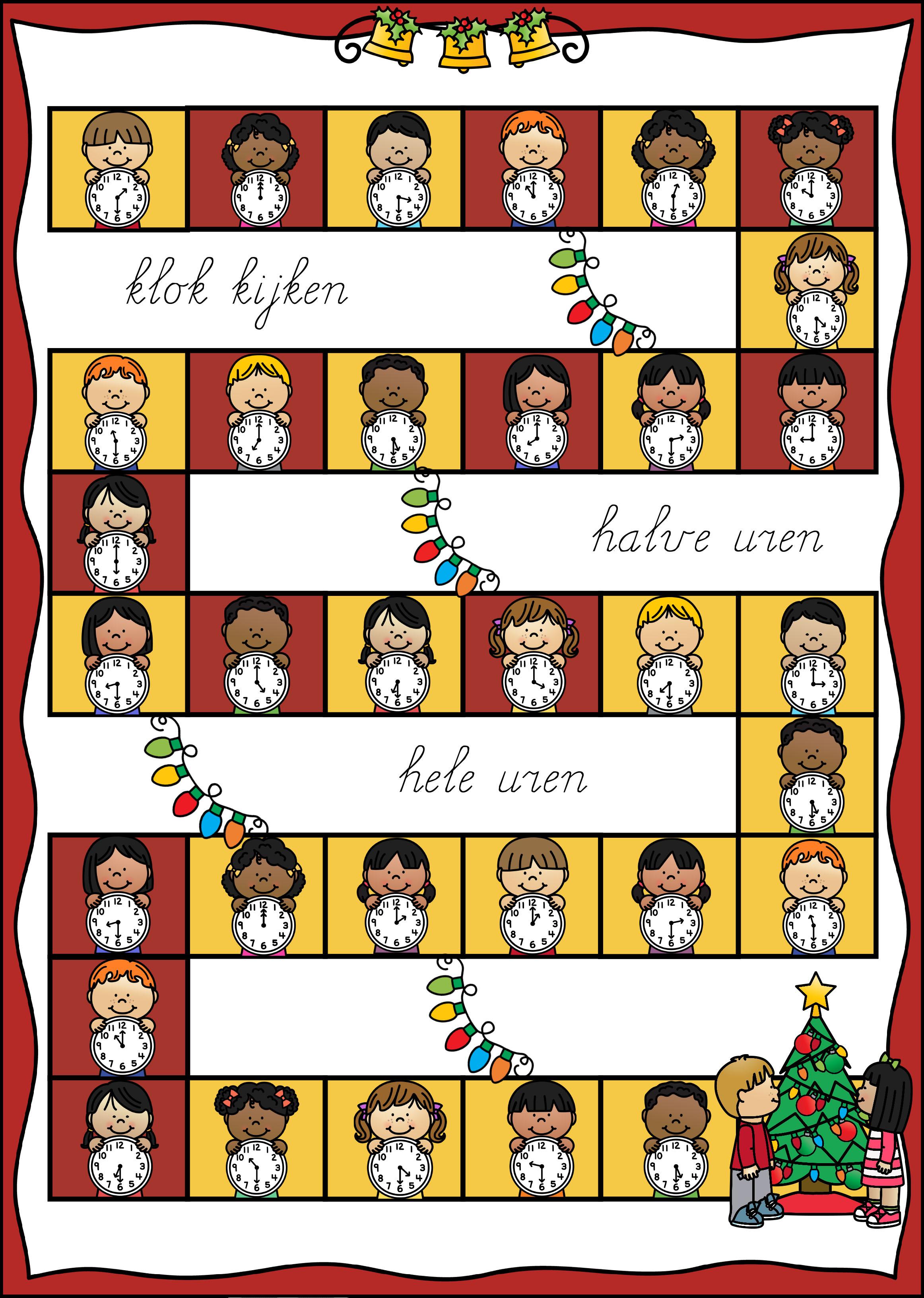 Spel kerst rekenen klokkijken uren
