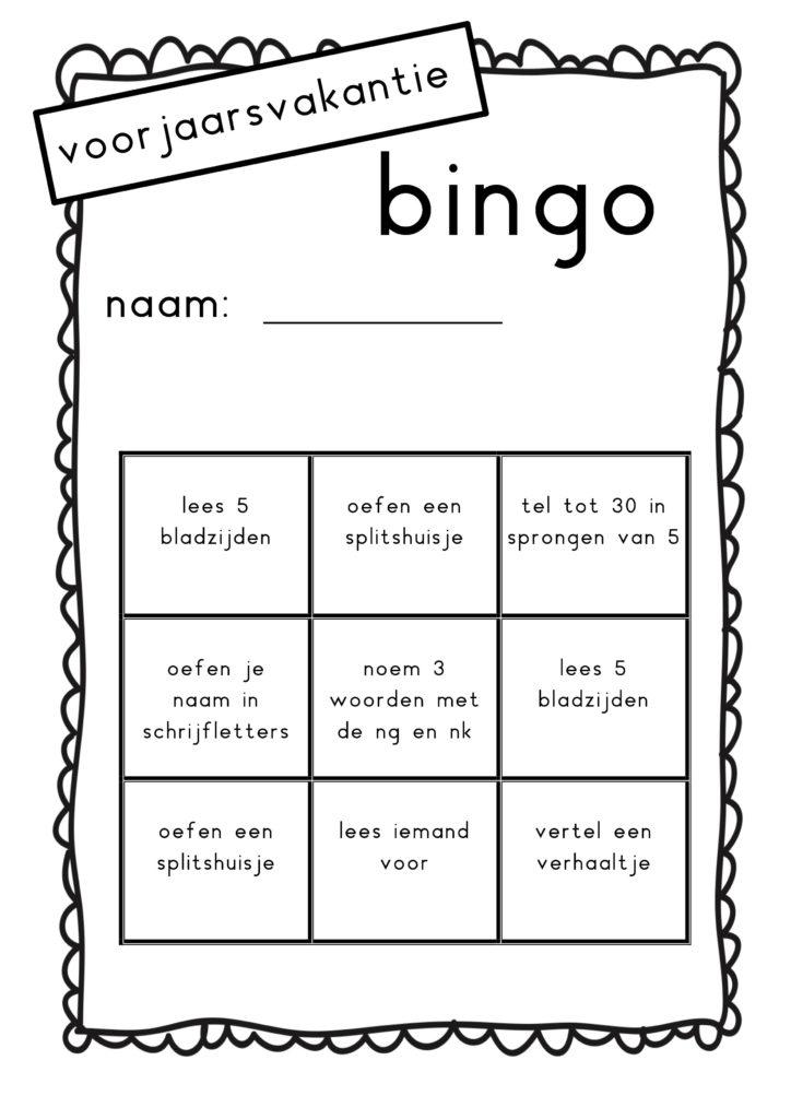 vakantie bingo voorjaar