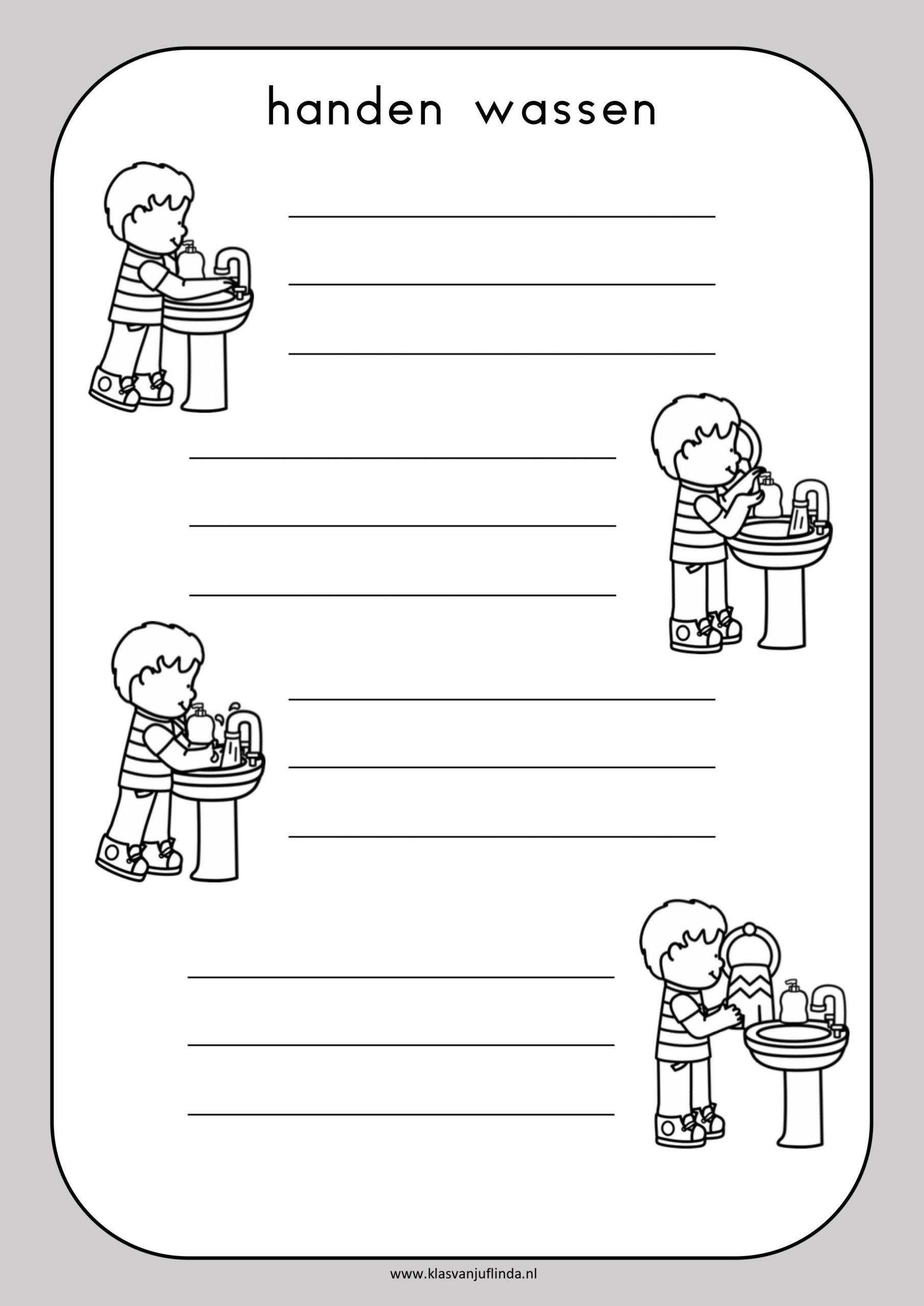 Stappenplan schrijven: handen wassen